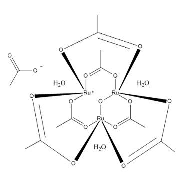 title='Hexa (acetato) -u-oxotris (aqua) triruthenium (III)  acetate'